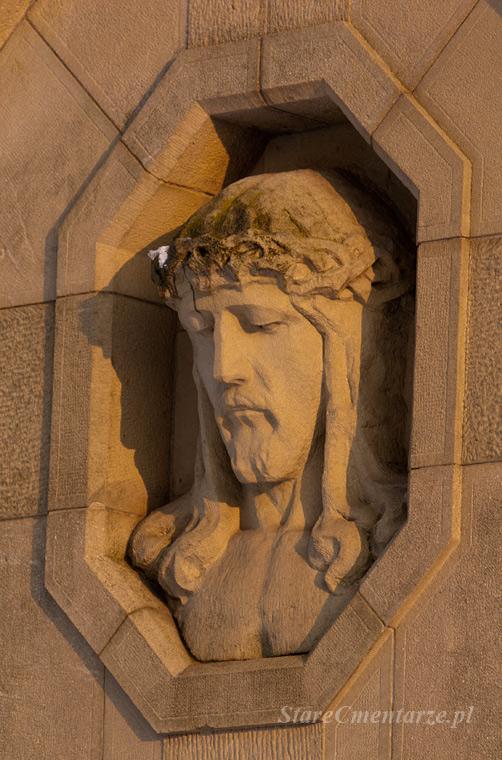 płaskorzeźba głowa Chrystusa