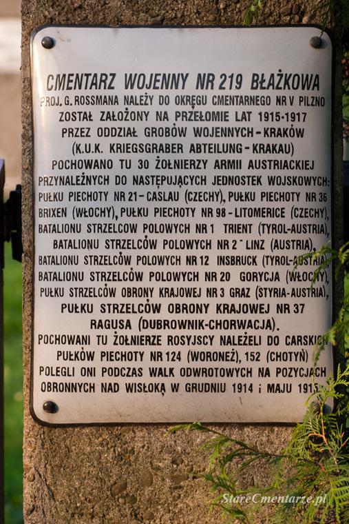 informacje o cmentarzu wojennym w Błażkowej